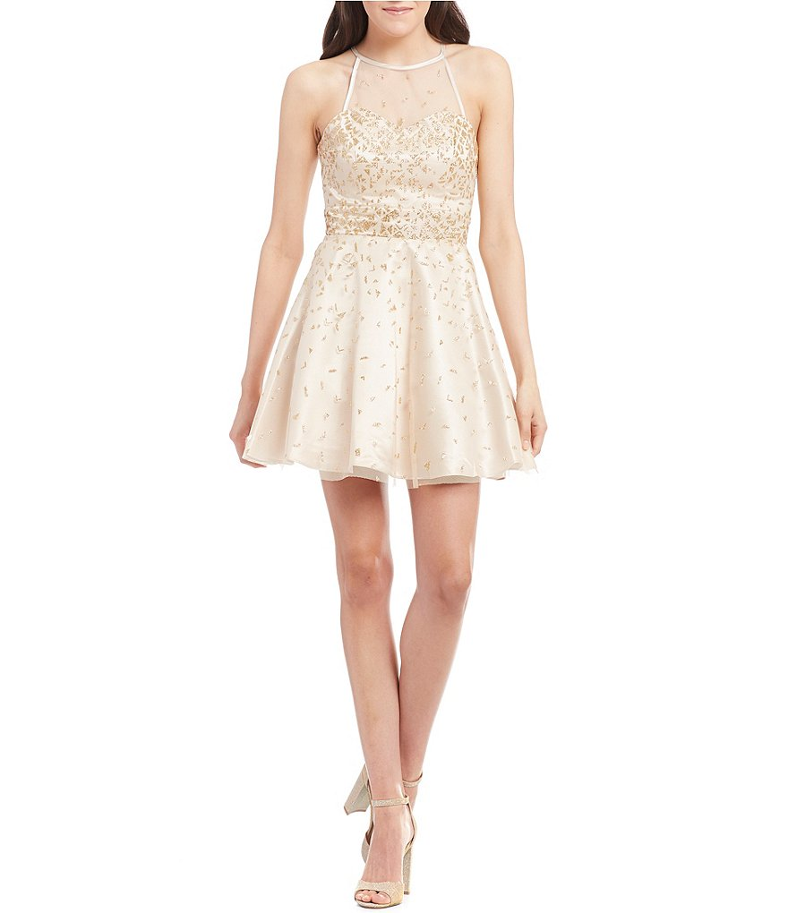Dear Moon High Neck Glitter Mesh Fit-and-Flare Party Dress