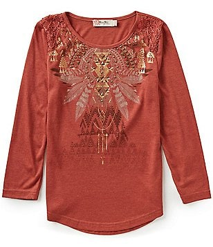 Miss Me Big Girls 7-16 Lace Graphic Top