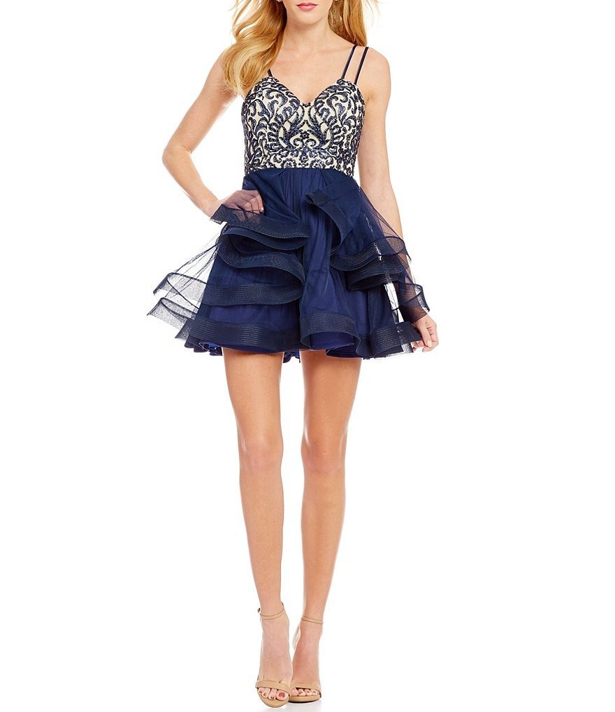 Dear Moon Embroidered Bodice Tiered Skirt Fit-and-Flare Party Dress