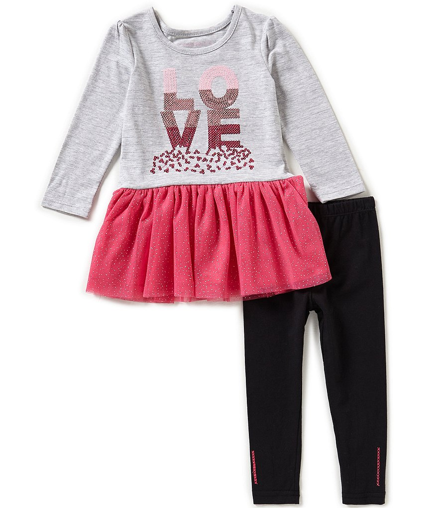 Flapdoodles Little Girls 2T-6X Sparkle Love Dress & Leggings Set