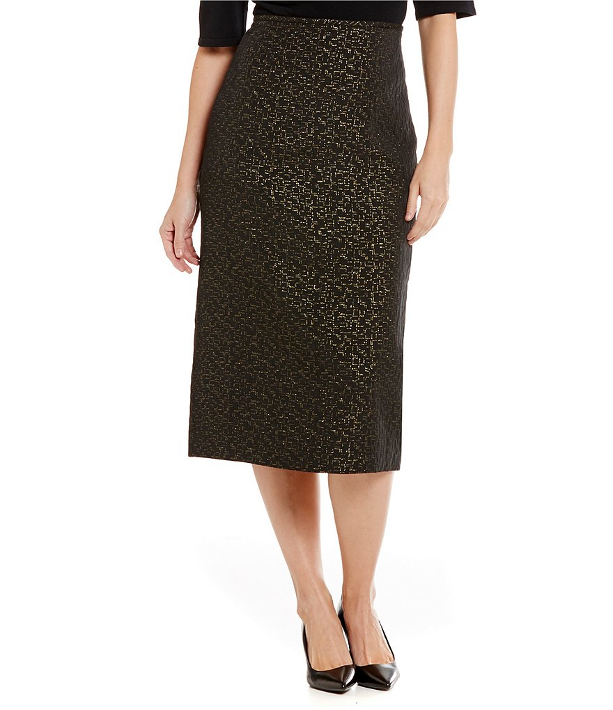 Preston & York Taylor Jacquard Pencil Midi Skirt
