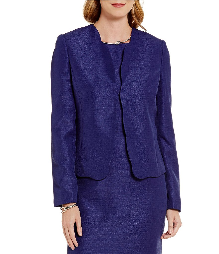 Preston & York Dulcie Sparkle Long Sleeve Scalloped Hem Jacket