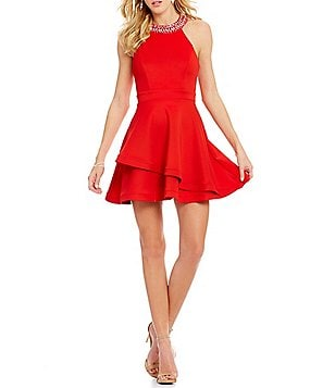 B. Darlin Jeweled-Neck Tiered Skirt Skater Dress