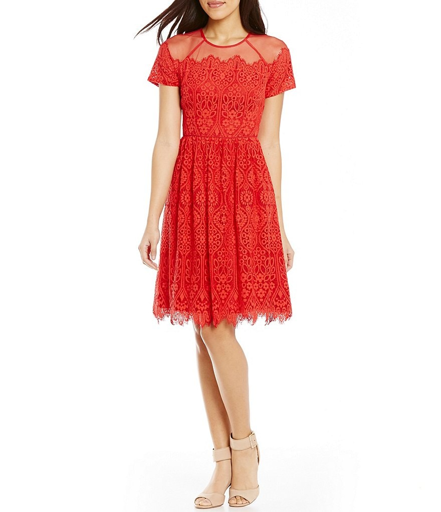 Maggy London Bavarian Leaf Lace Fit-and-Flare Dress