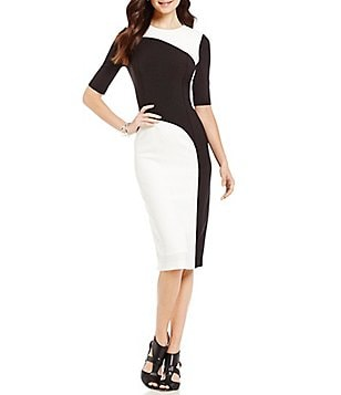 Maggy London Crew Neck Colorblock Slim Stretch Sheath Dress