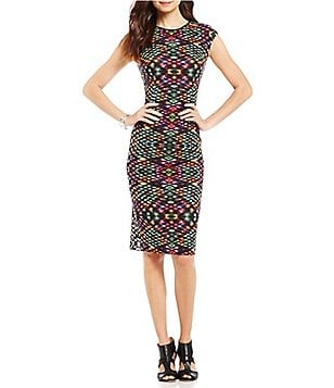 Maggy London Crew Neck Cab Sleeve Printed Scuba Midi Sheath Dress