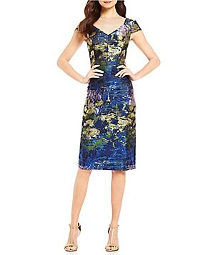 Maggy London Sweetheart Neck Cap Sleeve Cold Shoulder Brocade Dress