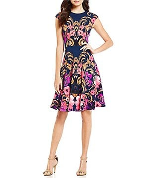 Maggy London Flower Scroll Fit and Flare Dress
