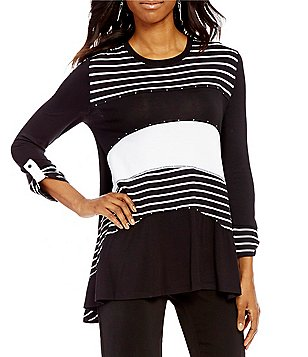 Multiples Long Roll-Tab Sleeve Stripe Print Uneven Hem Tunic
