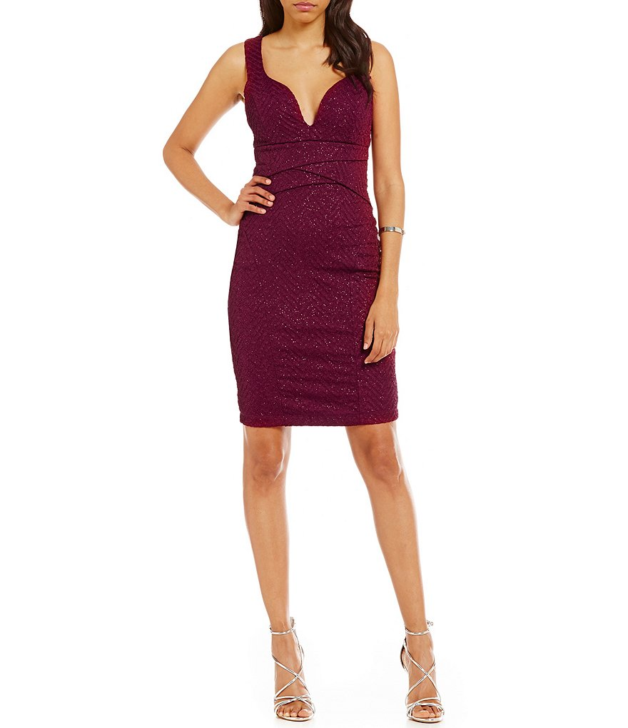 Honey and Rosie Plunging-Neckline Sheath Dress