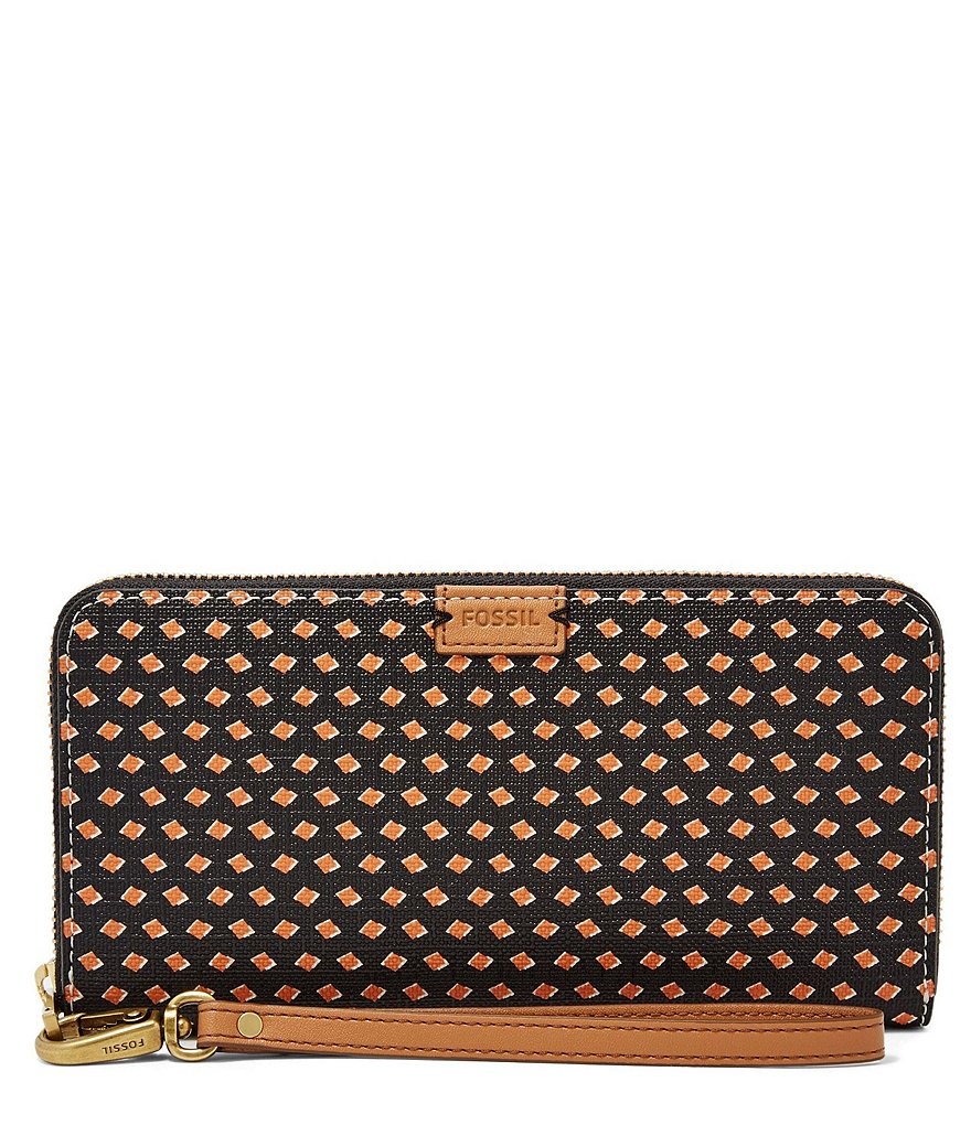 Fossil Emma Dotted RFID Large Zip Clutch