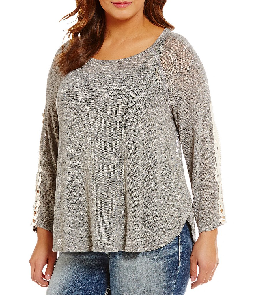 Moa Moa Plus Lace Side Sleeve Knit Top