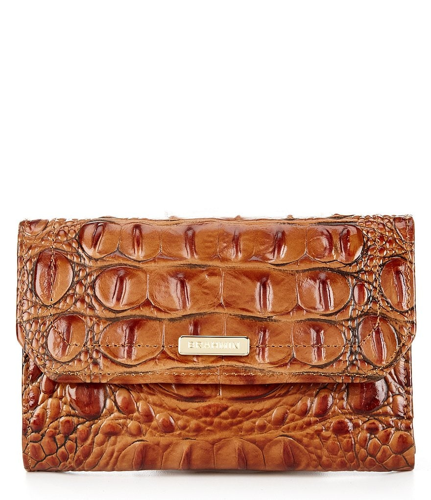 Brahmin Toasted Almond Collection Helena Small Flap Wallet
