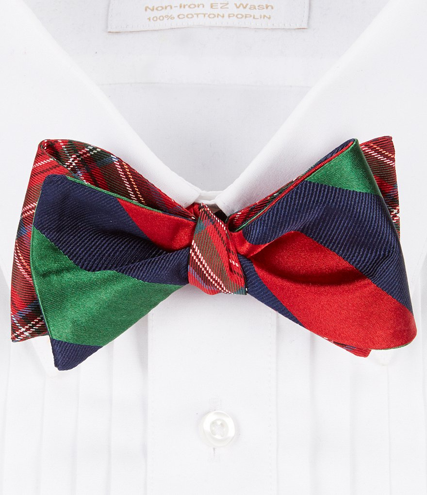 Cremieux Reversible Plaid Silk Bow Tie