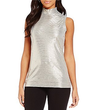Chelsea & Theodore Metallic Mock Neck Sleeveless Top