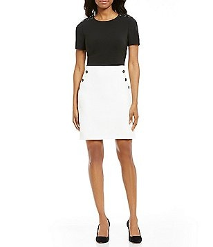 Maggy London Crew Neck Short Sleeve Button Front Two Tone Crepe Dress
