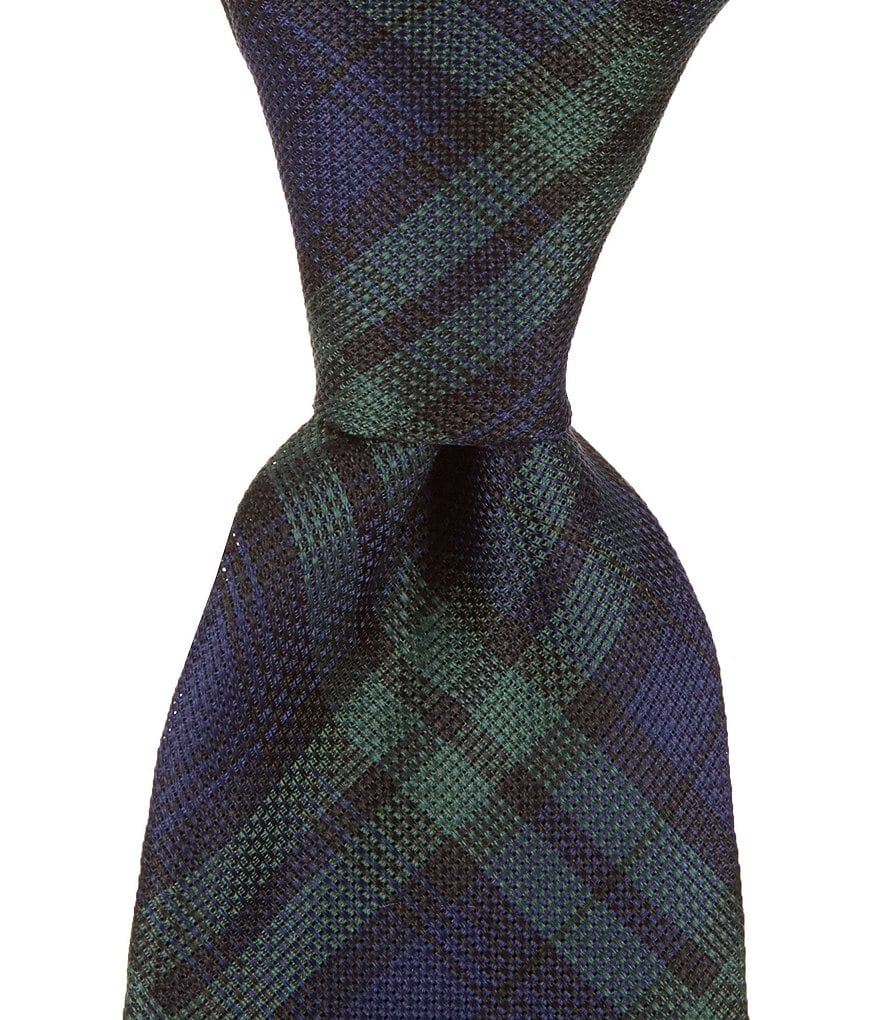 Roundtree & Yorke Trademark Blackwatch Plaid Traditional Silk Tie