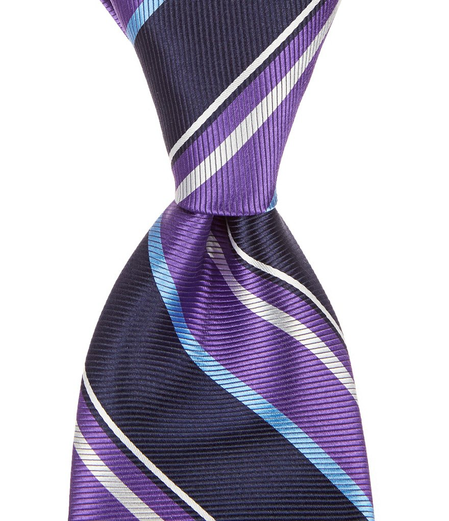 Roundtree & Yorke Trademark Spike Stripe Traditional Silk Tie