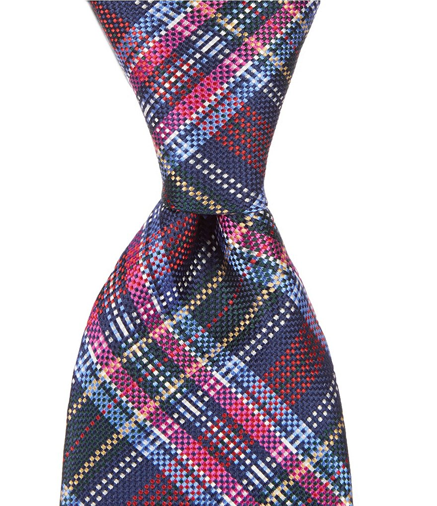 Roundtree & Yorke Trademark Bright Plaid Traditional Silk Tie