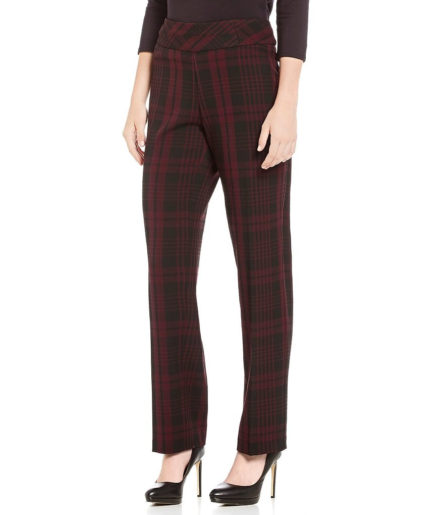 Investments the PARK AVE fit Pull-On Modern Straight Leg Plaid Pant
