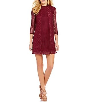 Jodi Kristopher Mock Neck Lace Shift Dress