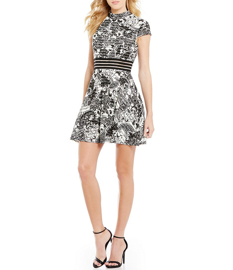 Jodi Kristopher Illusion Waist Printed Knit Mock Neck Fit-and-Flare Dress