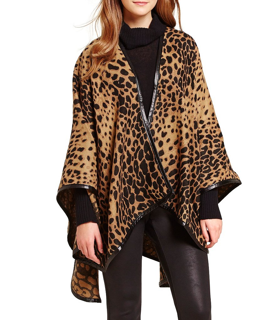 Fraas Leopard-Print Woven Rounded Ruana with Faux Leather Trim