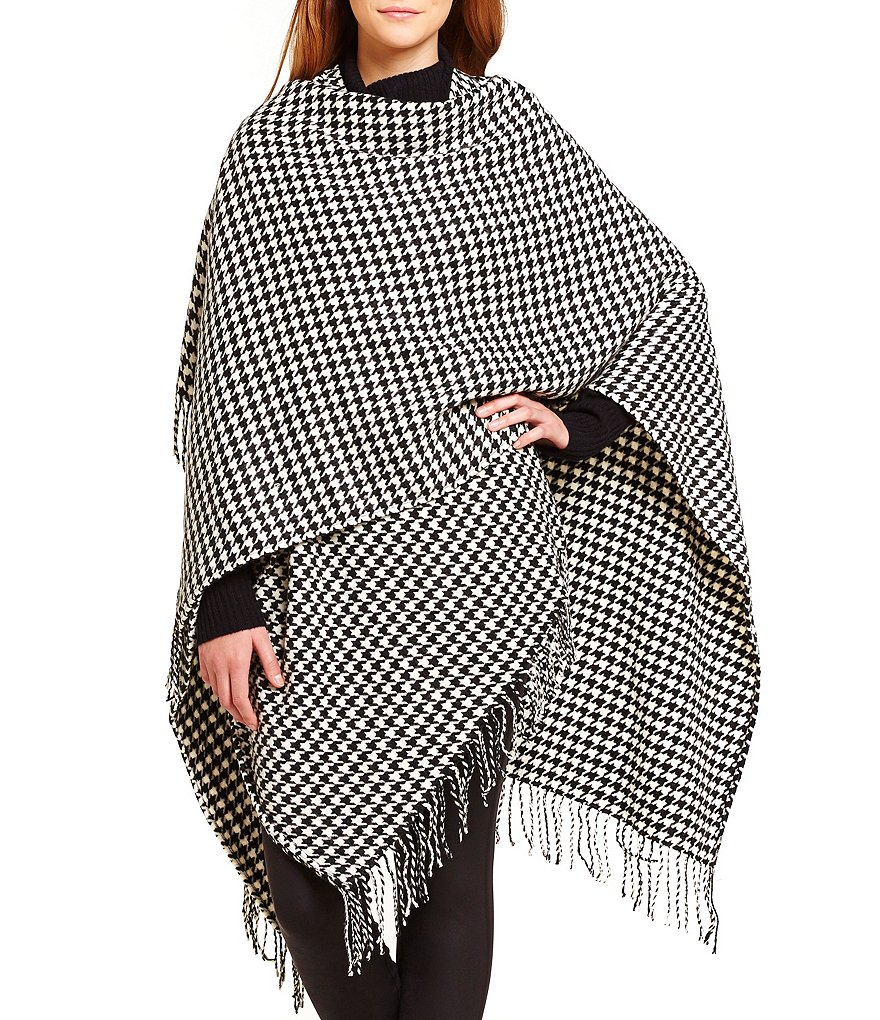 Fraas Woven Houndstooth Ruana with Fringe Detail