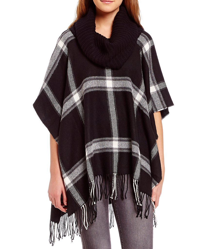 Fraas Fringed Windowpane Poncho with Cashmere-Blend Collar