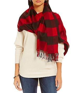 Fraas Cashmink Fringed Buffalo Plaid Blanket Wrap