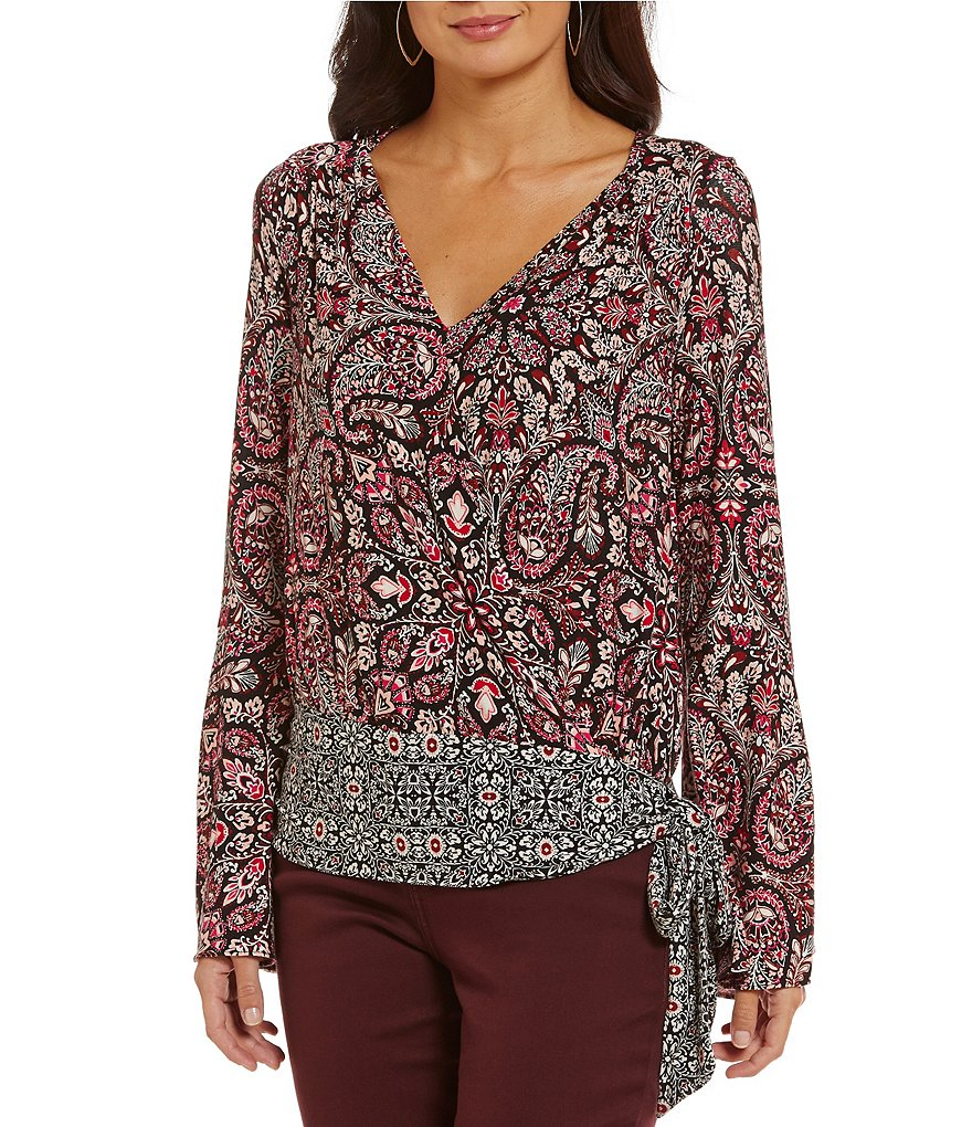 Fever Faux-Wrap Long Bell Sleeve Printed Top