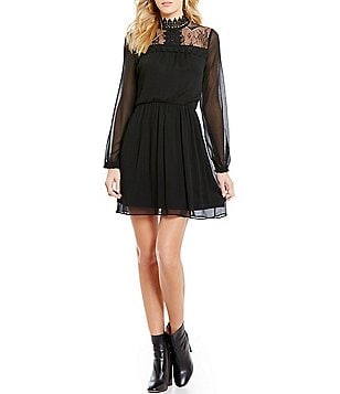 I.N. San Francisco Long-Sleeve Lace Yoke Mockneck A-line Dress
