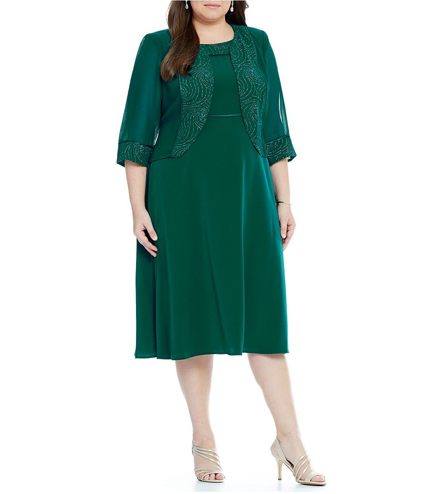Le Bos Plus 2-Piece Glitter Trim 3/4 Sleeve Jacket Dress