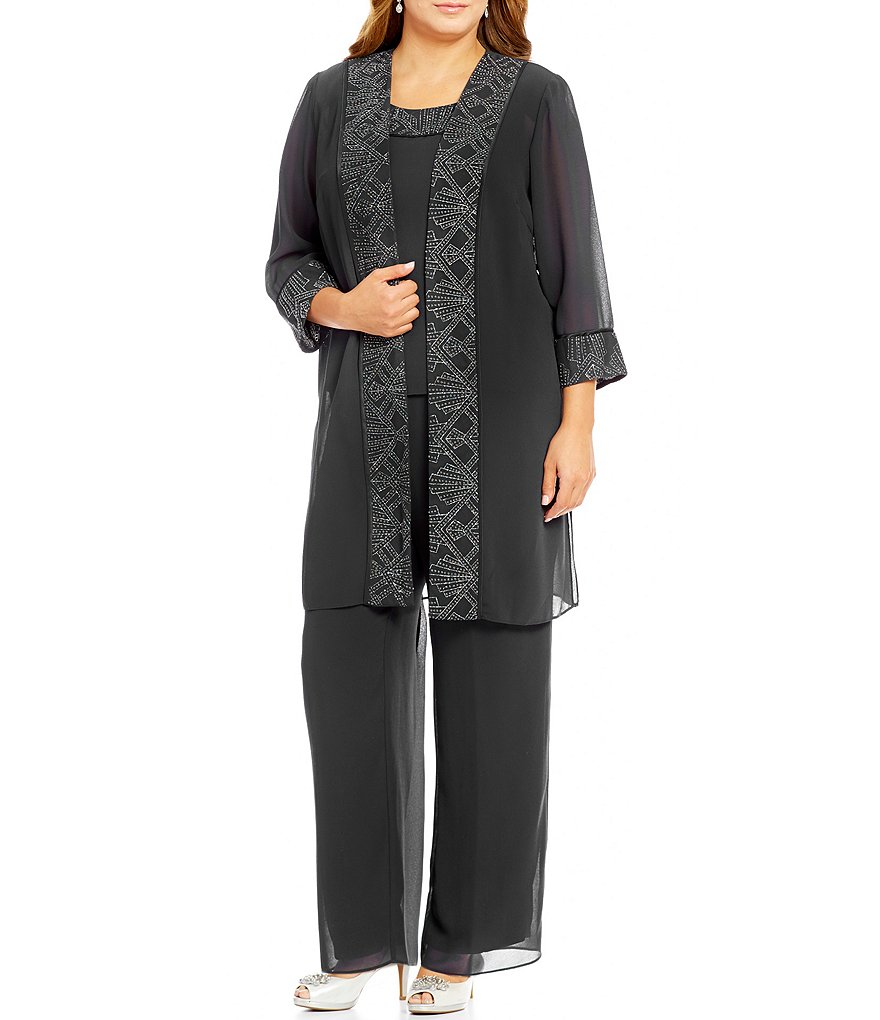 Le Bos Plus 3-Piece Glitter-Trim Chiffon Pant Set