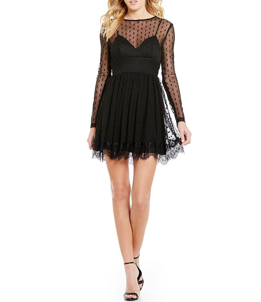 B. Darlin Pindotted Illusion Mesh Long-Sleeve Skater Dress
