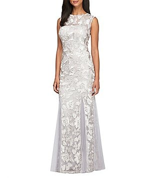 Alex Evenings Petite Illusion Boat Neck Sleeveless Embroidered Gown