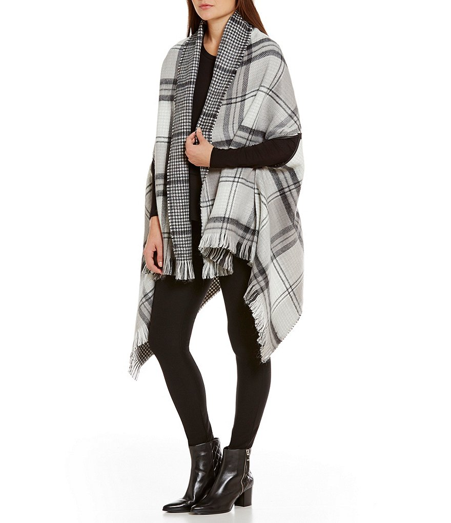 Echo Plaid & Houndstooth Reversible Blanket Wrap