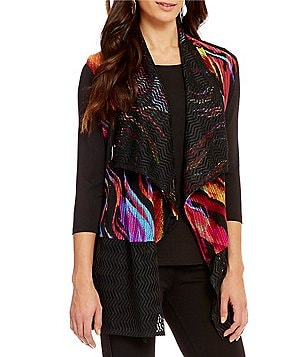 Calessa Multi-Color Lace-Back Open Front Vest