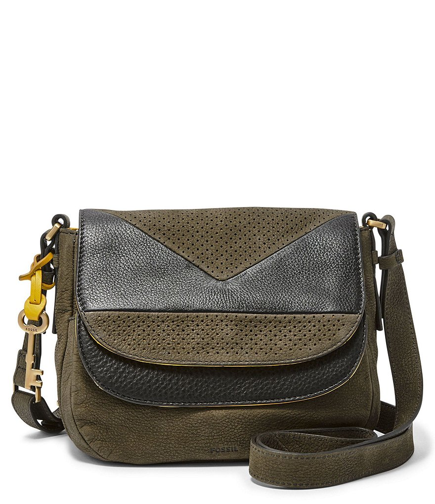 Fossil Peyton Color Block Double-Flap Cross-Body Bag