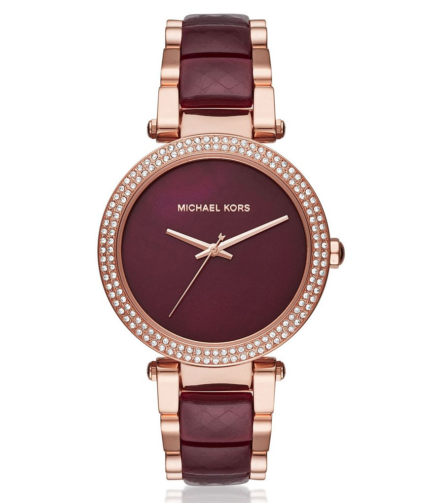 Michael Kors Parker Glitz Mother-of-Pearl Analog Bracelet Watch
