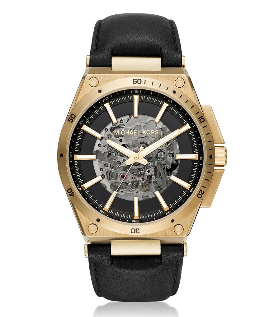 Michael Kors Wilder Automatic Leather-Strap Watch