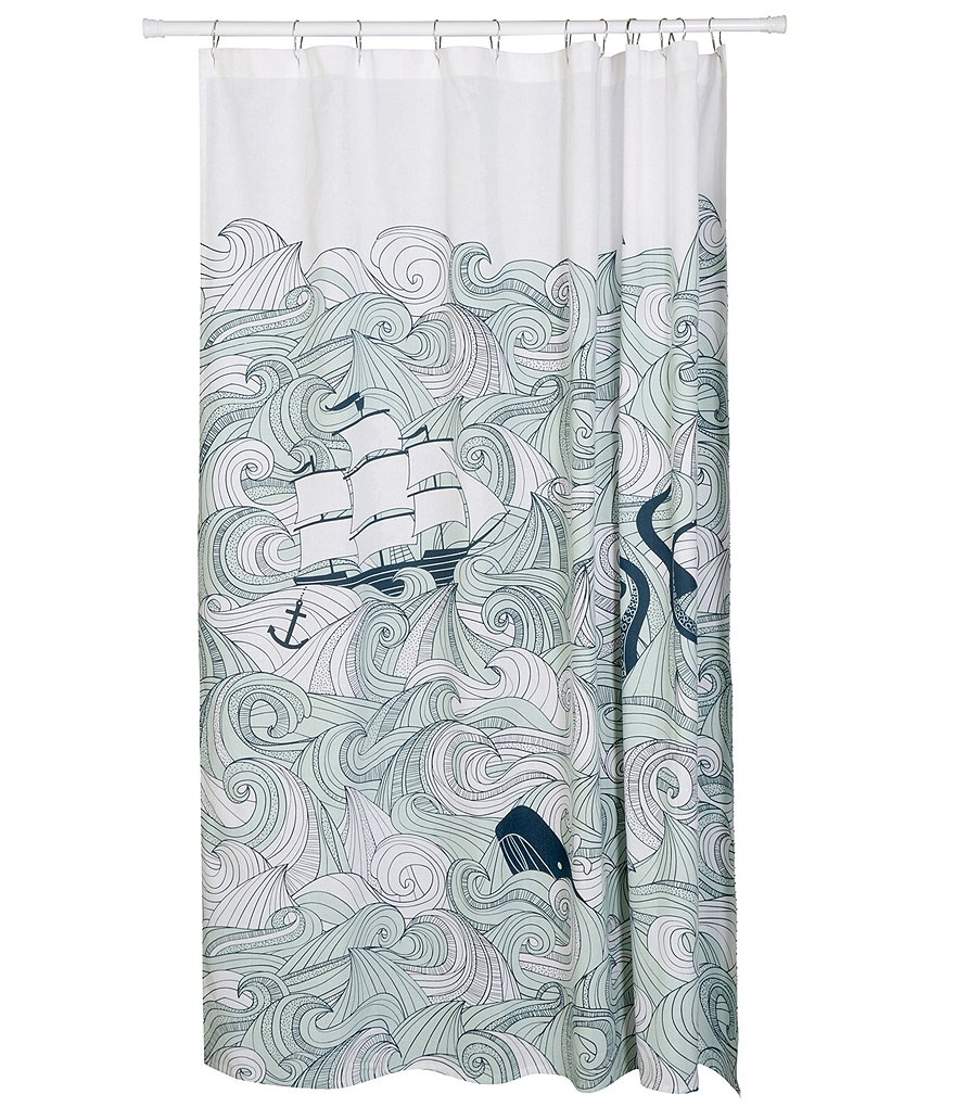 Danica Studio Odyssey Nautical Cotton Shower Curtain