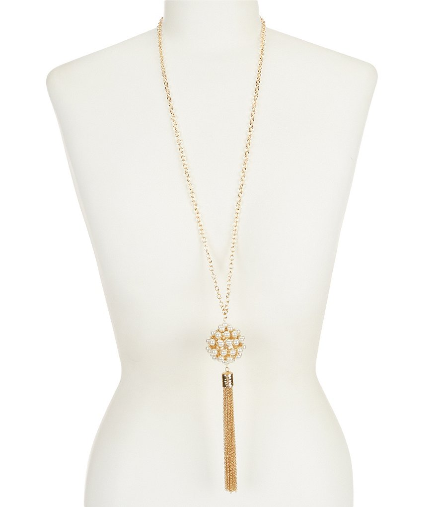 Anna & Ava Landon Chain-Tasseled Faux-Pearl Long Pendant Necklace