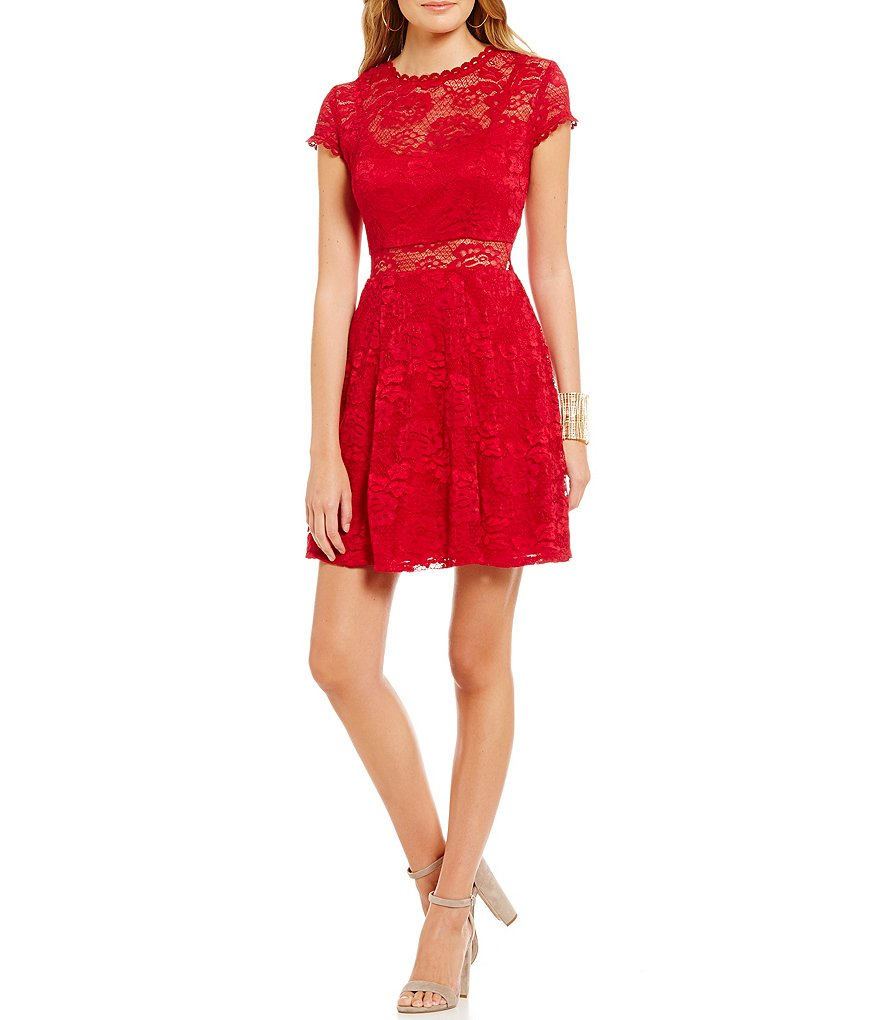 Jodi Kristopher Illusion Waist Lace Skater Dress