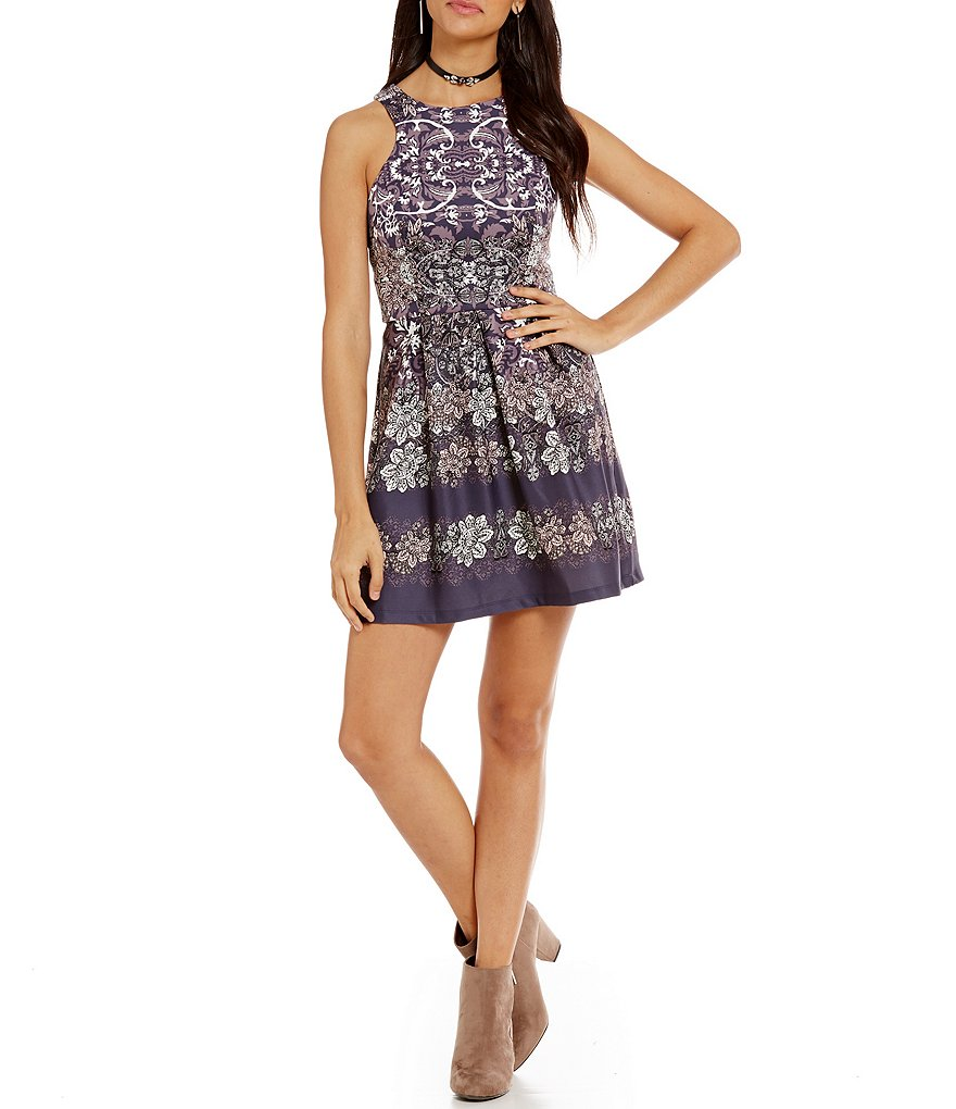 Teeze Me Floral Scroll A-Line Dress