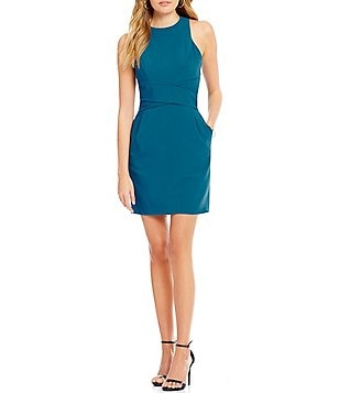 Teeze Me Sleeveless X-Waist Sheath Dress