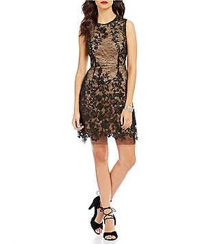 Betsey Johnson Round Neck Sleeveless Illusion Lace Sheath Dress