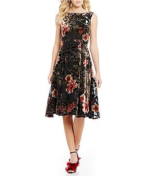 Betsey Johnson Printed Velvet Fit-And-Flare Dress