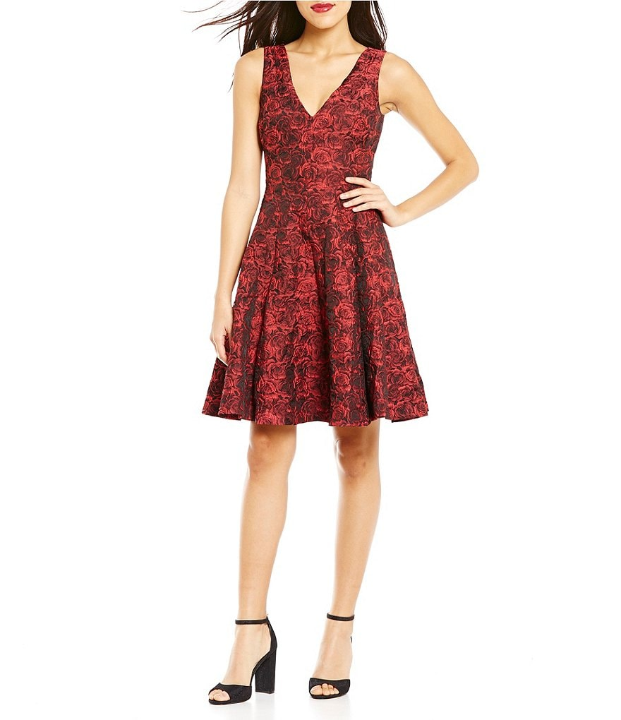 Betsey Johnson V-Neck Rose Jacquard Fit and Flare Dress