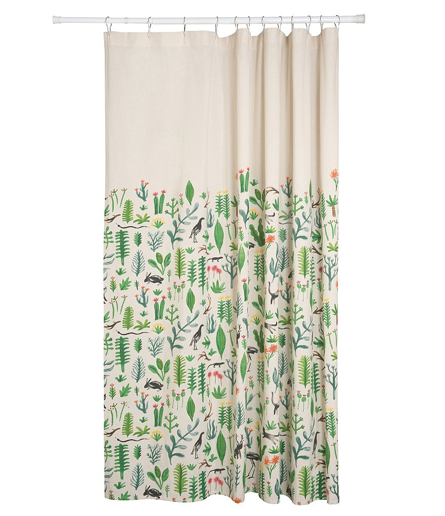 Danica Studio Secret Garden Watercolor Cotton Shower Curtain